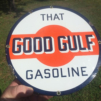 1930's Gulf Gasoline porcelain pump plate. - Petroliana