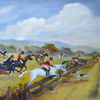 Fox Hunt Oil Painting on Board - Fine Art