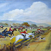 Fox Hunt Oil Painting on Board