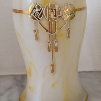 Late Victorian / Edwardian marbled enamelled and gilded satin glass vase - Art Glass