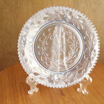 Clear blue floral plate - Glassware