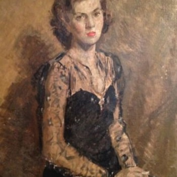 Portrait Of A Lady In a Black Dress 1947 Patrick Phillips ARWS RP (1907-1976) - Fine Art