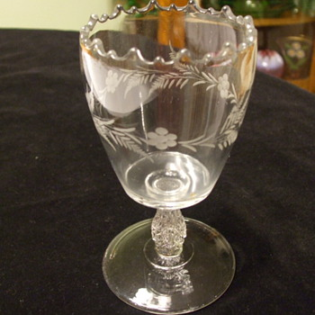 Spooner or Goblet with Flower & Fern Etching and Unusual Stem - Glassware