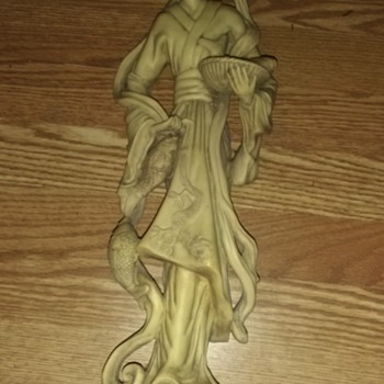 """19"""" tall Asian lady made of Ivory carrying a bowl with a large fish"""