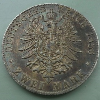 1883 German zwei mark (trench art)