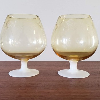 Amber and White Brandy Snifter Glasses - Glassware