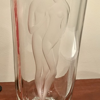 Tall Glass Vase with Figural Nudes - Art Glass