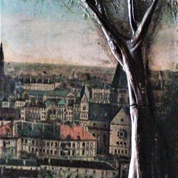 Vintage Painted on Wood Bark Plaque - Fine Art