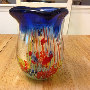 fish glass vase  - Art Glass