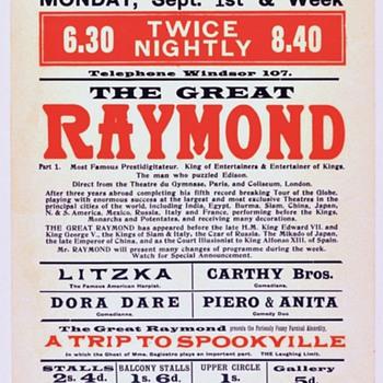 """The Great Raymond"" Original 1913 Theatre Royal Broadside"