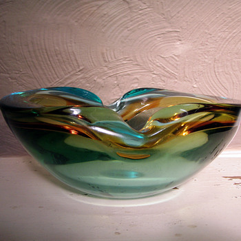 Large Sommerso geode bowl  Flavio Poli - Art Glass