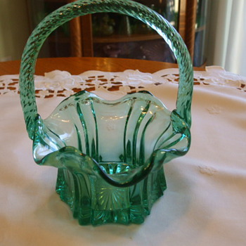 Beautiful TEAL GREEN Reeded Handle BASKET- Unknown Mark? - Glassware