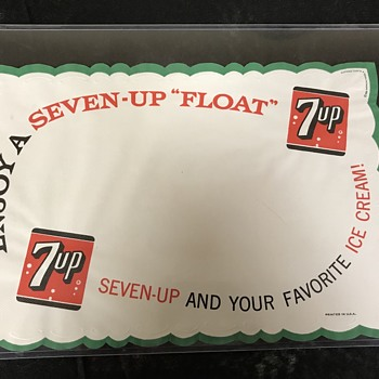 7 UP placemat  1950's  - Advertising