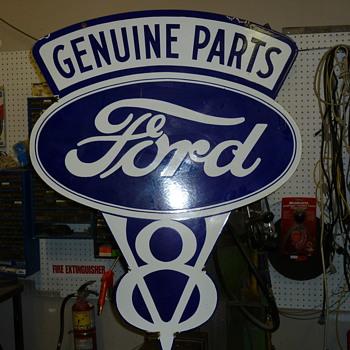 Vintage Ford V8 Sign - Signs