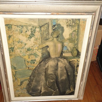 1933 Pastel Painting Lady Dressing - Fine Art