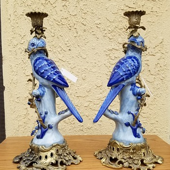 Porcelain Blue Bird Brass Candle Holder - Animals