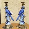 Porcelain Blue Bird Brass Candle Holder