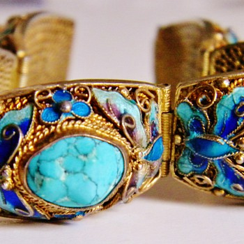 Antique Chinese Turquoise Butterfly Enamel Silver Gilt Panel Bracelet