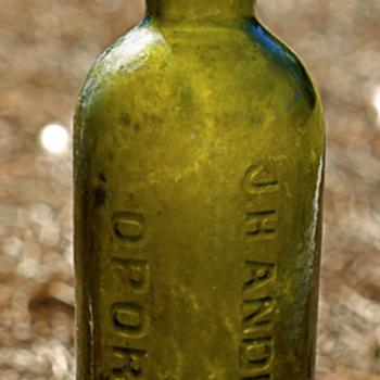 -----Old Black Glass Wine Bottle-----
