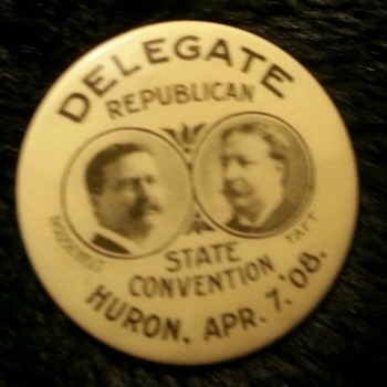 1908 Roosevelt - Taft Jugate - Medals Pins and Badges