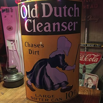 1930's Original Old Dutch Cleanser convex porcelain sign - Signs