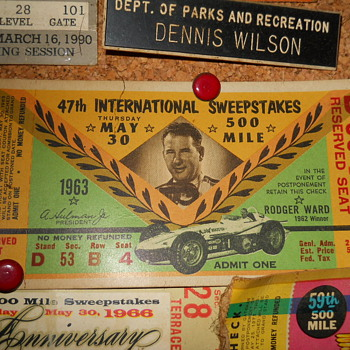 1963 Indy 500 ticket stub - Sporting Goods
