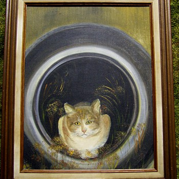 Cool Cat in a Tire Folk Art Oil Painting.