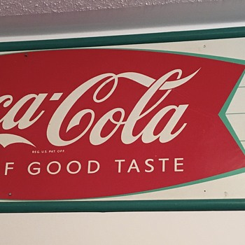 '60's Coca-Cola Painted Metal Fishtail Sign - Coca-Cola