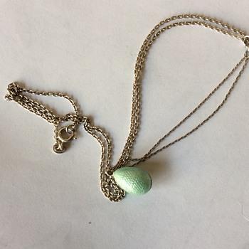 Victorian guilloché silver egg lavaliere - Fine Jewelry