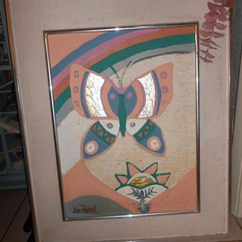 "LEE REYNOLDS ""Mystery"" Rainbow & Butterfly Painting - Help"