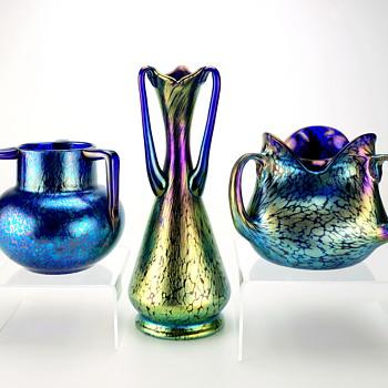 3 Loetz Cobalt Papillon vases w/ 9 Handles circa 1900-1918 - Art Nouveau