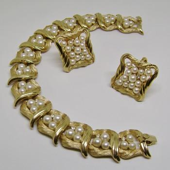 Trifari Bracelet and Earrings Set - Costume Jewelry