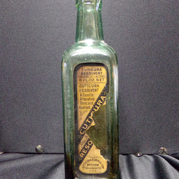 Antique Labeled Bottle: Cuticura Resolvent  - Bottles