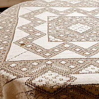 Hand Made Linen Tablecloth - Rugs and Textiles