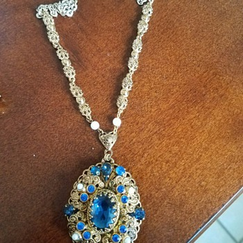Lace Gold Tone Blue Rhinestone Necklace - Signed W Germany - Costume Jewelry