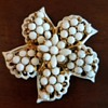 Vintage Signed Pell White Milk Glass Pinwheel Flower Pin Brooch