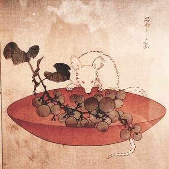 "Hosoda Eishi woodblock "" mouse and grape bowl "" - Posters and Prints"
