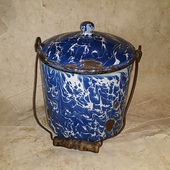 Blue and White Swirl Graniteware Pail 100 Years Plus  - Kitchen