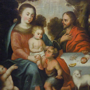 The Holy Family in Landscape with St John (original oil)