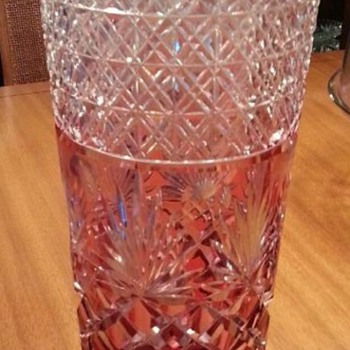 A beautiful red cut to clear vase. - Art Glass