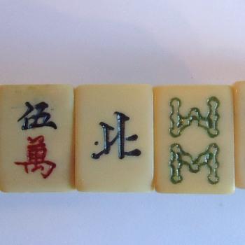 Mahjong  Bracelet,  old Ivory (I believe),  Chinese - Costume Jewelry