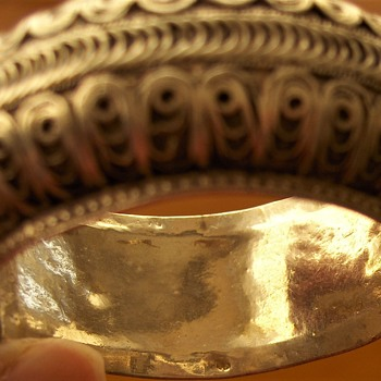 Some of my ancient European-Persian Type Deeply Layered Silver Hinged Bangles - Fine Jewelry