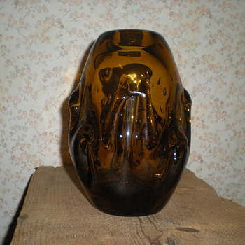 Bohemian amber glass vase with bubbles. - Art Glass