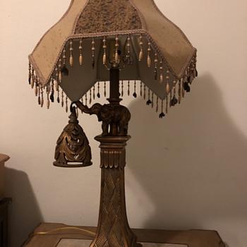 Ornate Elephant lamp with beaded fringe shade - Lamps