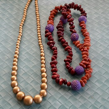 Gold bead Necklace and Seed beads Necklace - Costume Jewelry
