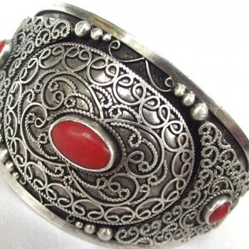 Antique Victorian??? Sterling cuff bracelet with coral - Fine Jewelry