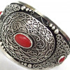 Antique Victorian??? Sterling cuff bracelet with coral