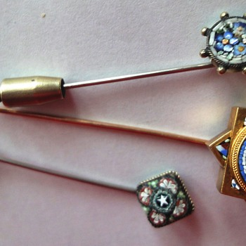 3 Micro Mosaic Stick pins - Fine Jewelry