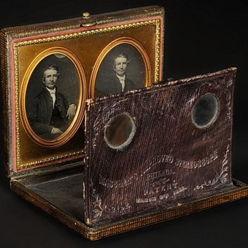 Mascher Stereo Daguerreotype Viewer with Original Image Pair, c.1853 - Cameras