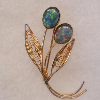 Opal & Bay Leaf Pin/Brooch